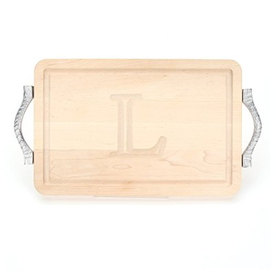 BigWood Boards 210-RP-L Cutting Board with Handles, Monogrammed Cutting Board, Thick Maple Utility...