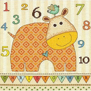 """Baby Hippo 123 Counted Cross Stitch Kit-10""""X10"""" 14 Count (並行輸入品)"""