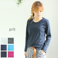 prit(プリット) 30/1リサイクルムラ糸天竺、TOP杢クルーネック 6colormade in japan90880