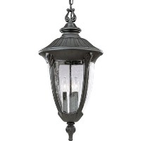 Progress Lighting p5520 Meridian three-light Cast Aluminum chain-hungアウトドアPE、 12-Inch Diameter x 24...