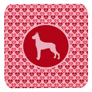 "Caroline 's Treasures sdk1080-a-fc Great Dane Valentine Hearts Foam Coasters ( Set of 4 )、3.5 "" H x..."