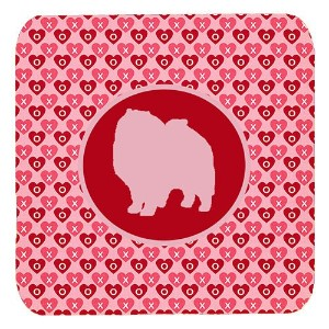 "Caroline 's Treasures sdk1137-a-fc Keeshond Valentine Hearts Foam Coasters ( Set of 4 )、3.5 "" H x 3..."