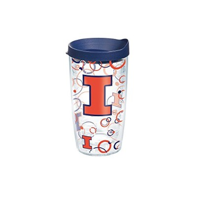 Tervis Illinois Bubble Up Wrap Tumbler with Navy蓋、16オンス、クリア