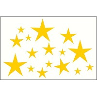 Wall Decor Plus More WDPM210 Variety Star Wall Vinyl Sticker Decal 16 Pc 2In to 8In Peel-N-Stick By...