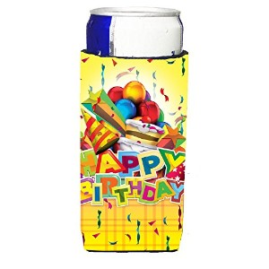 Caroline 's Treasures aph8873muk Happy誕生日パーティーMichelob Ultra Koozies forスリム缶、マルチカラー