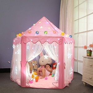 Dream Yo キッズプレイテント Kid Indoor Princess Castle Play Tent 子供 用 室内 (3点セット, ピンク)