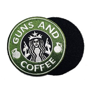 GUNS AND COFFEE ワッペン (パッチ)ベルクロ付き GREEN/WHITE-nog051603101 (GREEN/WHITE)