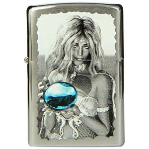 ZIPPO MERMAID AND ORB BRUSHED CHROME LIGHTER (28651)