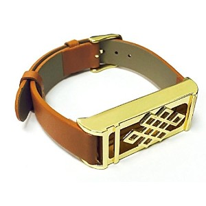 BSI Brown Leather Replacement Bracelet With New Unique Design Gold Metal Housing For Fitbit Flex...