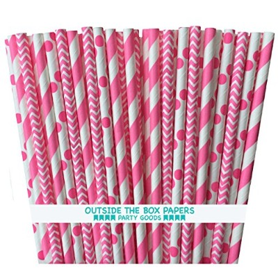 Outside the Box Papers Pink Stripe, Chevron, and Polka Dot Paper Straws 7.75 Inches Pink, White by...