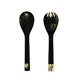 Creative Co-Op Horn Salad Server Set, 10.5-Inch, Metallic [並行輸入品]