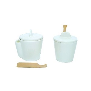 Creative Co-Op White Ceramic Canister Set with Wood Scoops, White [並行輸入品]