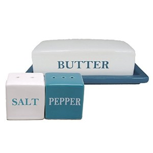Contemperary Butter Dish with Salt and Pepper Shaker Set