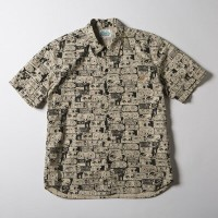 SNOID DISGUSTING DISGUISES S/S SHIRTS (Lt.Beige)スノイド 半袖 総柄シャツ