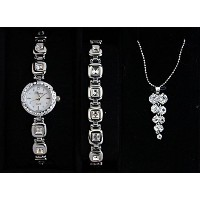 Parture Fashionable Ladies Quartz Watch ABR11-SI necklace & bracelet set 《Made in Japan》