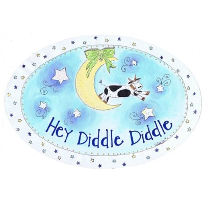 The Kids Room by Stupell Hey Diddle Diddle with the Cow on the Moon Oval Wall Plaque by The Kids Room by Stupell