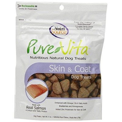 Pure Vita Skin & Coat Dog Treats with Real Salmon, 6oz by Pure Vita