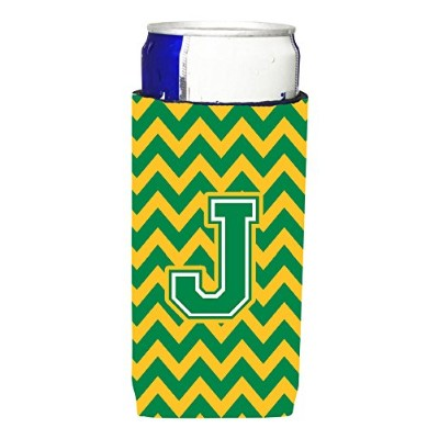 文字J Chevron Green and Gold Ultra Beverage Insulators forスリム缶cj1059-jmuk