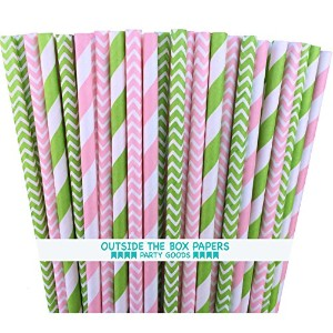 Outside the Box Papers Lime Green and Pink Chevron and Stripe Paper Straws 7.75 Inches Lime Green,...