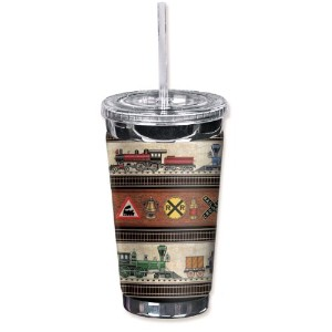 "Mugzie 1016-tgc "" Trains & Signs "" To Go Tumbler with Insulatedウェットスーツカバー、16オンス、ブラック"