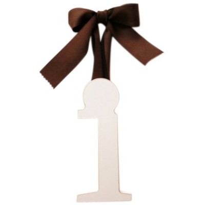 New Arrivals Wooden Letter I with Solid Brown Ribbon, Cream by New Arrivals