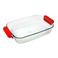 Marinex Prediletta Large Rectangular Glass Roaster with Red Silicone Handles, 3.7-Quart [並行輸入品]