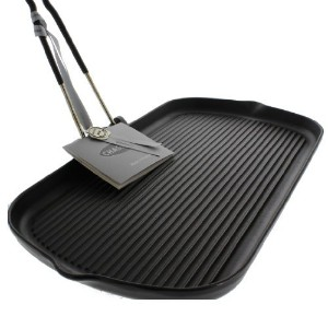 Chasseur 14-inch Rectangular French Cast Iron Grill With Folding Handle [並行輸入品]