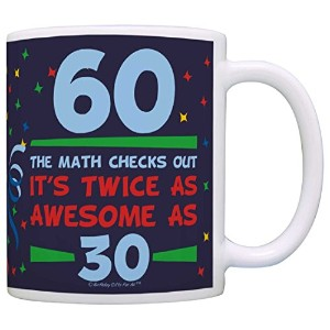 Birthday Gifts For All 60th Birthday Twice as Awesome Birthday Gag Gift Coffee Mug Tea Cup Blue by...