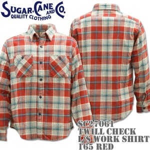 Sugar Cane(シュガーケーン)TWILL CHECK L/S WORK SHIRT SC27061-165 Red