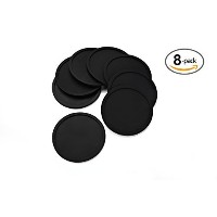 KUCHANG Rubber Silicone Drink Coasters (Set of 8 Pieces), Black by KUCHANG