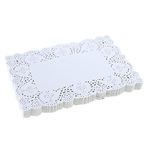 DECORA 6.5X9 Rectangle Colorful Paper Lace Doyleys Wedding Tableware DecorationWhite. by Decora