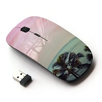 KOOLmouse [ ワイヤレスマウス 2.4Ghz無線光学式マウス ] [ Pink Palm Trees Florida California Sea ]