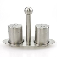 finether 304ステンレススチールSalt & Pepper Shaker Set with Stand
