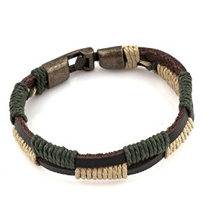 LovelyJewelryダブルレザーメンズブレスレット編みロープWoven Wrap Cuff Bracelet for Men