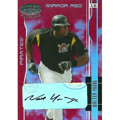 【ヴォルター ヤング】MLB 2003 Leaf Certified Matereials Mirror Red Autograph 100枚限定!(063/100)/Walter Young
