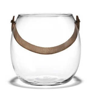 HOLMEGAARD DESIGN WITH LIGHT Pot with leather handle clear H16cm (L) ガラス ポット4343518 吹きガラス