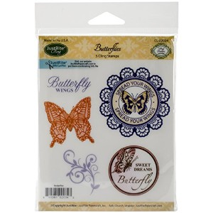 "JustRite Papercraft Mini Cling Stamp Set 3.5""X4""-Butterflies 5pc (並行輸入品)"