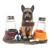 Adorable Canine Patrol German Shepherd Puppy Dog Salt and Pepper Shaker Set with Dog Treat Bowls...