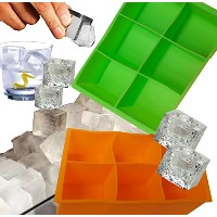 Silicone 2 Inch Cube Mold Ice Cube Tray ,Set of 2, 1 Green and 1 Orange, 6.25 X 4.35 X 2 Inches by...