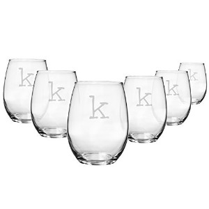 Cathy's Concepts Personalized 15 oz. Stemless White Wine Glasses, Set of 6, Letter K [並行輸入品]