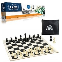 WE Games Tournament Chess Set- Heavy Weighted Chess Pieces with Black Roll-up Chess Board and...
