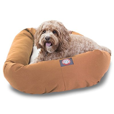 32 inch Khaki & Sherpa Bagel Dog Bed By Majestic Pet Products by Majestic Pet