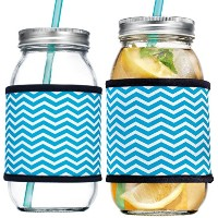 Home Essentials & Beyondメイソンのセット225オンスガラスDrinking Jarクージーwith Colored Straw and Blue Chevron...