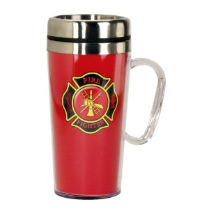 Spoontiques Firefighter Insulated Travel Mug, Red