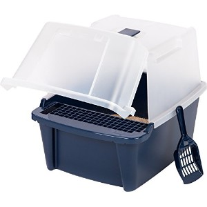 IRIS Large Split-Hood Litter Box with Scoop and Grate, Blue by IRIS USA, Inc.
