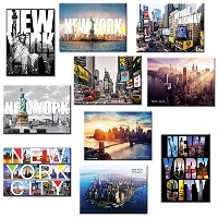 10 set New York NYC Souvenir Large Photo Picture Fridge Magnets 2.5 x 3.5 inch - by Universal...