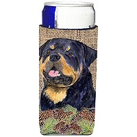 Caroline 's Treasures ss4059-parent Rottweiler onフェイク黄麻布with Pine Cones Ultra Beverage Insulators...