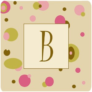 "Caroline 's Treasures cj1004-bfc monogram-tanドットFoam Coasters ( Set of 4 )、初期文字B、3.5 "" H x 3.5 "" W..."