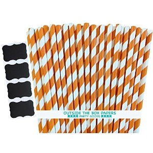 Outside the Box Papers Stripe Paper Straws- 7.75 Inches Orange, White by Outside the Box Papers