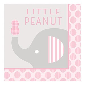 Creative Converting 31694116Count Paper Lunch Napkins、Little Peanut elephant- Girl